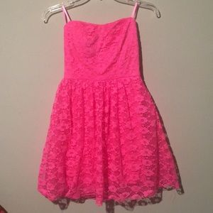 Hot pink strapless lace dress